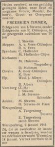 Freerkien Timmer, 9-1-1948, overlijdensadvertentie