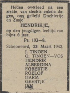 Hendrikje Tinge, 23-3-1942, overlijdensadvertentie
