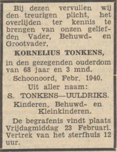Kornelius Tonkens, 19-2-1940, overlijdensadvertentie