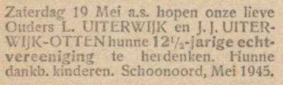 Uiterwijk en Otten, 19-5-1945, 12,5 jarig huwelijk