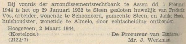 Vos en Haak, 29-1-1932, echtscheiding
