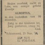 Albertus Vos, 25-11-1928, overlijdensadvertentie