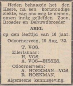 Abel Vos, 19-8-1932, overlijdensadvertentie