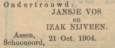 Nijveen en Vos, 21-10-1904, ondertrouwd