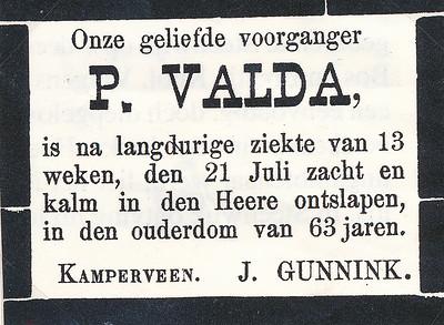 Overlijdensadvertentie Pieter Valda (1818-1882)