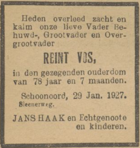 Reint Vos, 29-1-1927, overlijdensadvertentie
