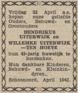 Uiterwijk en ten Hoeve, 23-4-1943, 45 jarig huwelijk
