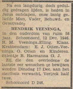 Hendrik Veeninga, 12-12-1946, overlijdensadvertentie