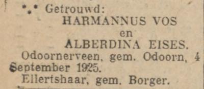 Vos en Eisses, 4-9-1925, huwelijksadvertentie
