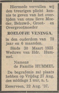 Roelofje Veninga, 22-8-1937, overlijdensadvertentie