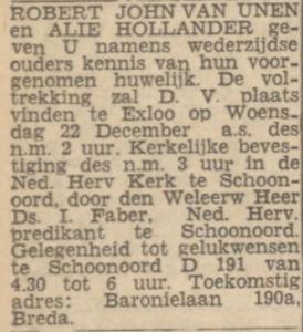 van Unen en Hollander, 22-12-1943, huwelijksaankondiging