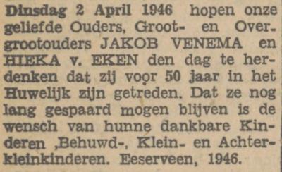 Venema en van Eken, 2-4-1946, 50 jarig huwelijk