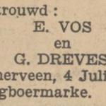 Vos en Dreves, 4-7-1929, ondertrouwd