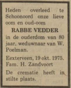Rabbe Vedder, 19-10-1975, overlijdensadvertentie
