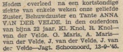 Anna van der Velde, 13-9-1945, overlijdensadvertentie