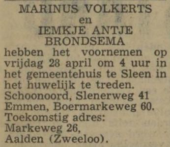 Volkerts en Brondsema, 28-4-1972, huwelijksaankondiging