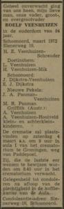 Roelf Veenhuizen, 3-1972, overlijdensadvertentie