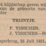 Trijntje Visscher, 25-7-1931, geboorteadvertentie