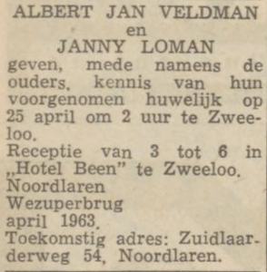 Veldman en Loman, 25-4-1963, huwelijksaankondiging