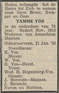 Tamme Vos, 21-1-1950, overlijdensadvertentie