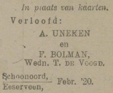 Uneken en Bolman, 2-1920, verloofd