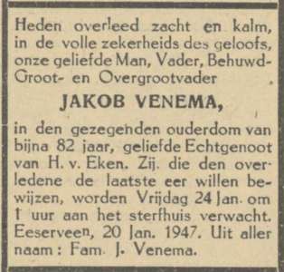 Jakob Venema, 20-1-1947, overlijdensadvertentie