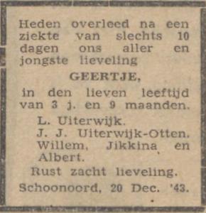 Geertje Uiterwijk, 20-12-1943, overlijdensadvertentie