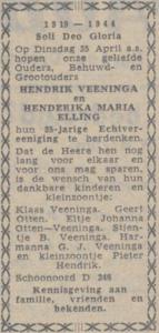 Veeninga en Elling, 25-4-1944, 25 jarig huwelijk