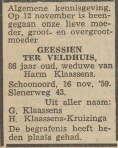 Geessien ter Veldhuis, 16-11-1959, overlijdensadvertentie