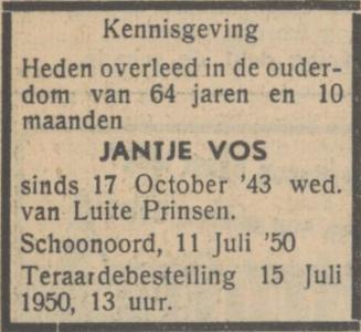 Jantje Vos, 11-7-1950, overlijdensadvertentie