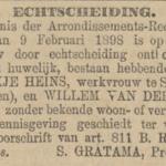 Velde en Heins, 9-2-1898, echtscheiding