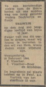 Trijntje Visscher, 10-2-1944, overlijdensadvertentie