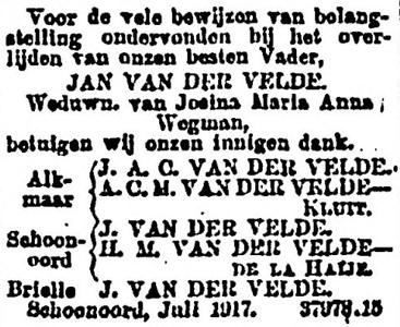Jan van der Velde, 7-1917, overlijdensadvertentie