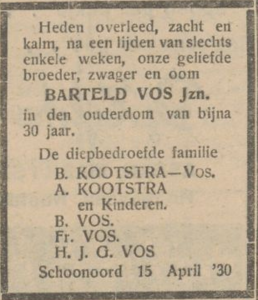 Barteld Vos, 15-4-1930, overlijdensadvertentie