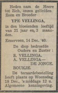 Ype Vellinga, 14-12-1940, overlijdensadvertentie