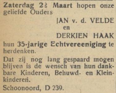 van der Velde en Haak, 22-3-1947, 35 jarig huwelijk