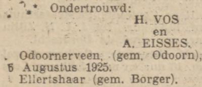 Vos en Eisses, 5-8-1925, ondertrouwd