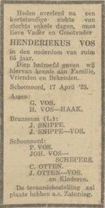 Henderikus Vos, overleden 17-4-1928, overlijdensadvertentie