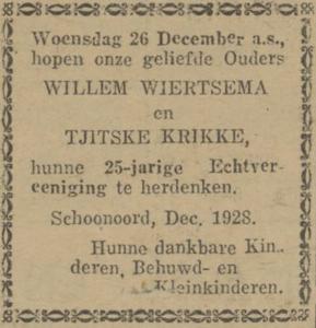 Wiertsema en Krikke, 26-12-1928, 25 jarig huwelijk