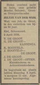 Jeltje van der Wijk, 2-4-1936, overlijdensadvertentie