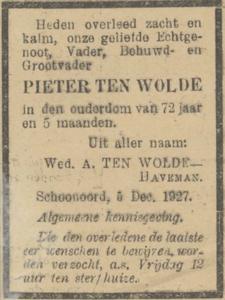 Pieter ten Wolde, 5-12-1927, overlijdensadvertentie