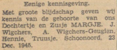 Margje Wigchers, 23-12-1945, geboorteadvertentie