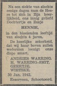 Hennie Warring, 30-1-1942, overlijdensadvertentie