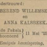 Willemsen en Kalsbeek, 11-5-1925, ondertrouwd