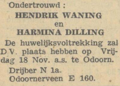 Waning en Dilling, 18-11-1949, ondertrouwd