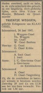 Trientje Weggen, 24-6-1947, overlijdensadvertentie