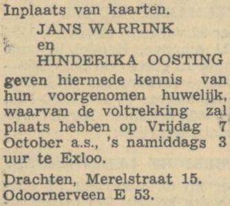 Warrink en Oosting, 1-10-1949, huwelijksaankondiging