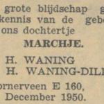 Marchje Waning, 13-12-1950, geboorteadvertentie
