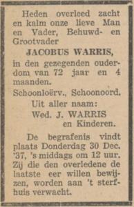 Jacobus Warris, 26-12-1937, overlijdensadvertentie