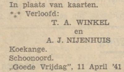 Winkel en Nijenhuis, 11-4-1941, verloofd